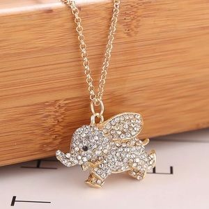 Jewelry - {Krista} flying elephant CZ rhinestone necklace